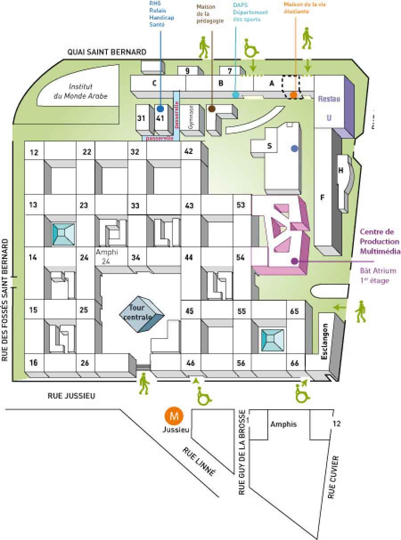 Plan piéton Jussieu / accès des personnes handicapées