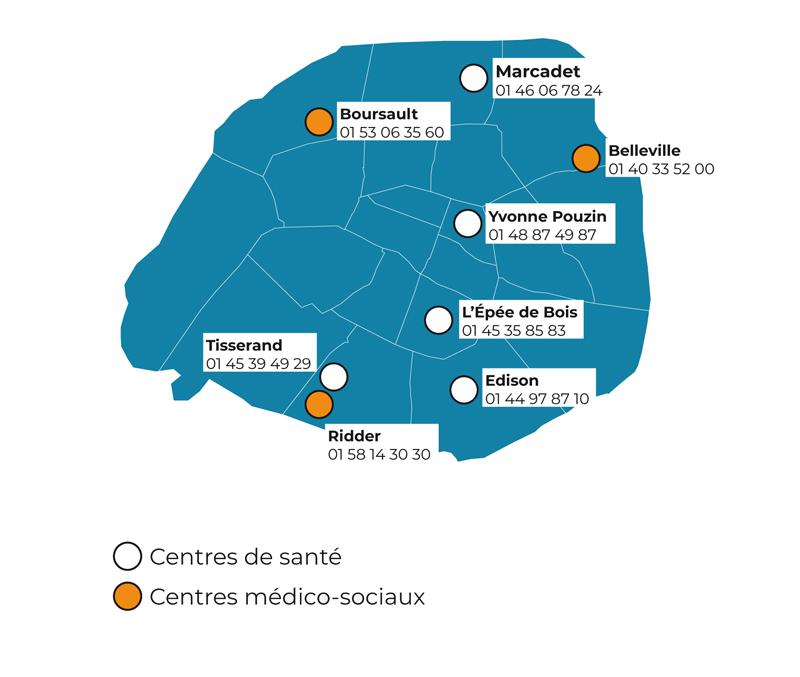 Dispositif Covid-19 des Centres de santé de la Ville de Paris ouverts